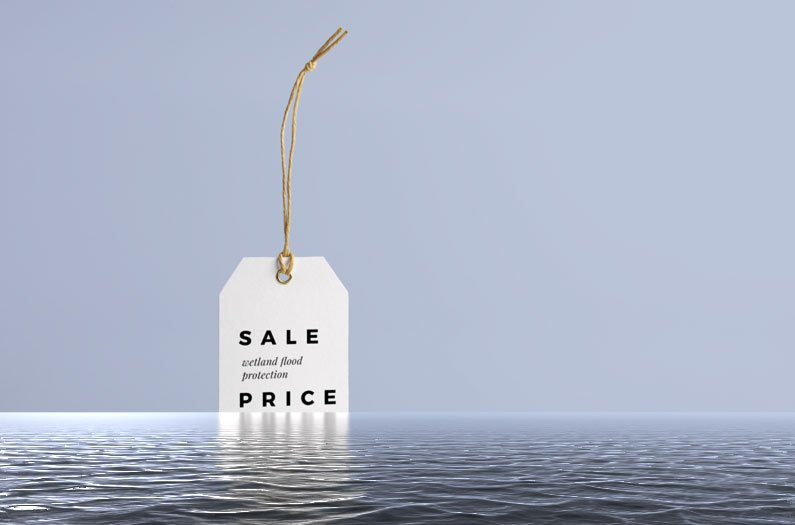 Sale tag on water