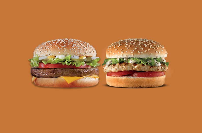 Choosing one over the other will halve your dietary carbon footprint