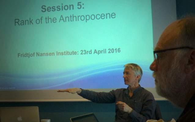 Jan Zalasiewicz at an Anthropocene Working Group meeting ©Andrew Revkin